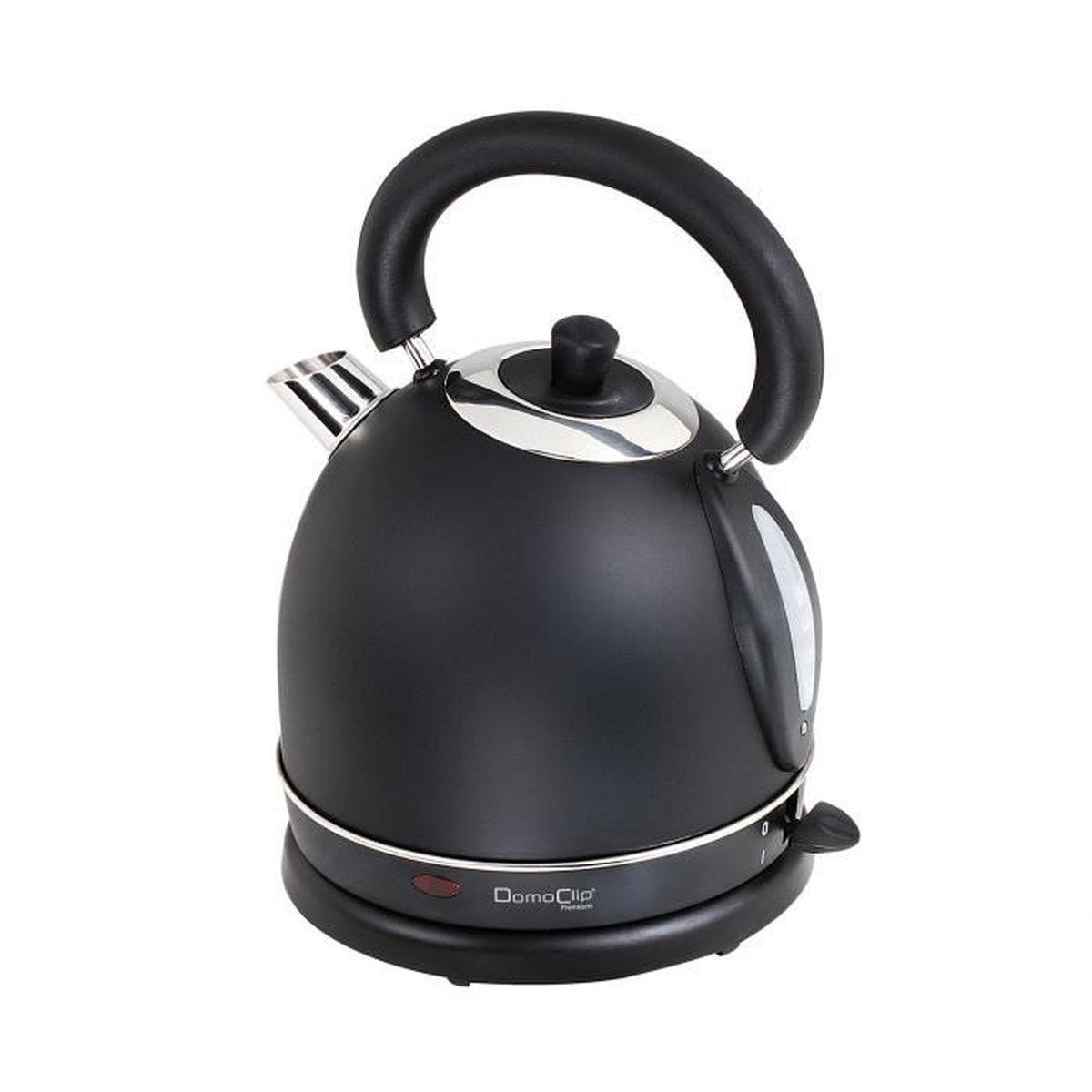 Bouilloire Isotherme destiné bouilloire 1800w sans fil noire style rétro finition inox - capacité