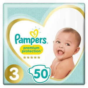 PAMPERS New Baby Taille 3 Midi - 4 ? 9kg - 50 couches - Format pack Géant