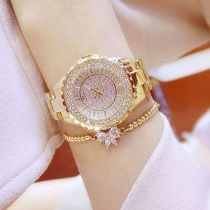 MONTRE Charmant Diamant Montre de Femme Or Acier Inoxydab
