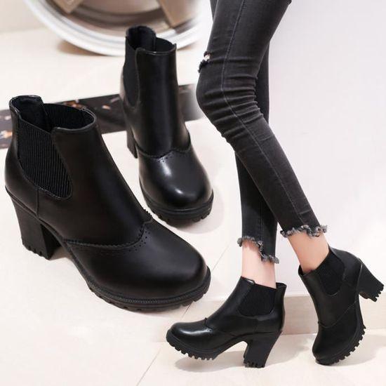 Hotskynie®Mode talons hauts populaire sandales carrés Martin hiver populaire hauts pour femmes Noir*CQQ70901341BK Noir Noir - Achat / Vente escarpin fc4377