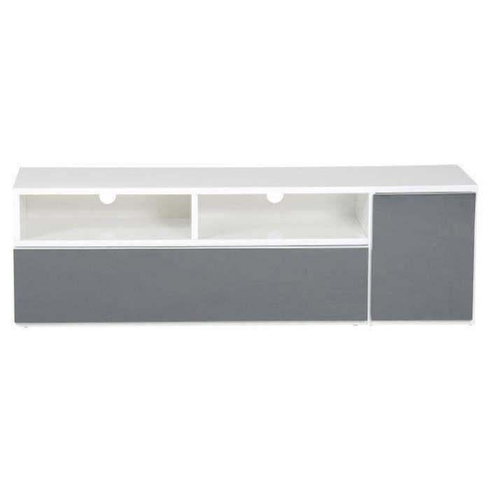 MDF laqué blanc et gris anthracite brillant - 1 porte, 1 tiroir, niches - L 130 x P 38 x H 40 cmMEUBLE TV - MEUBLE HI-FI