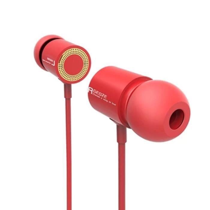 Casque Écouteur Mains Libres Soundproof Sport Mega Expérience De Jeu Pour Iphone Basse -rouge