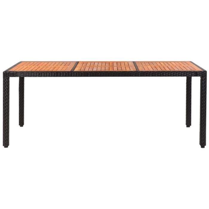Tables d\'exterieur Table de jardin Rotin Dessus de table bois d\'acacia  190x90x75cm