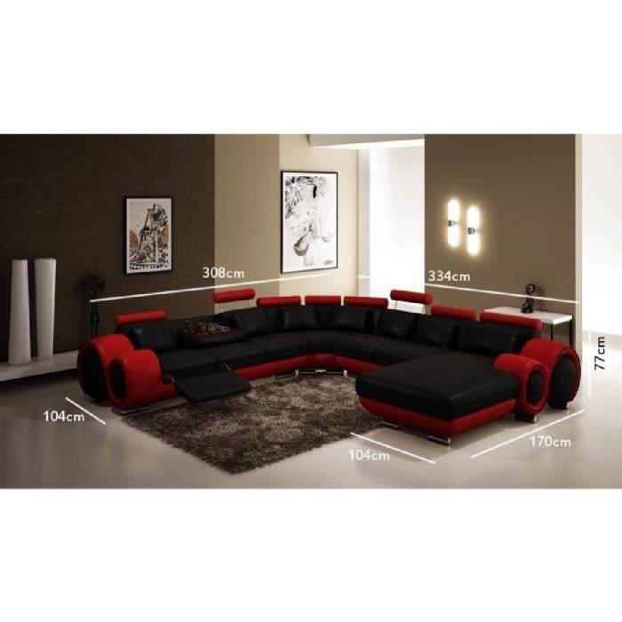 grand choix de 48177 b98c0 Canapé panoramique cuir noir et rouge OSLO (angle droite)