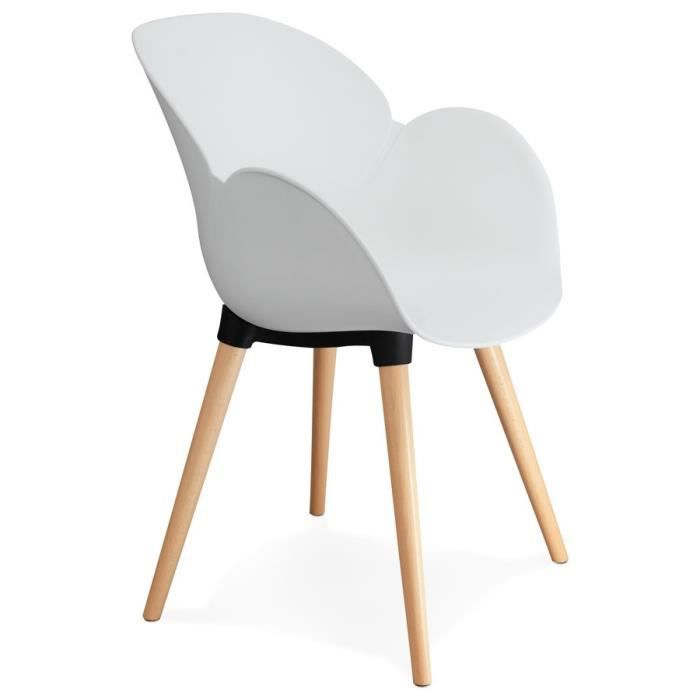 Chaise Scandinave Blanches Pieds Bois Achat Vente Pas Cher