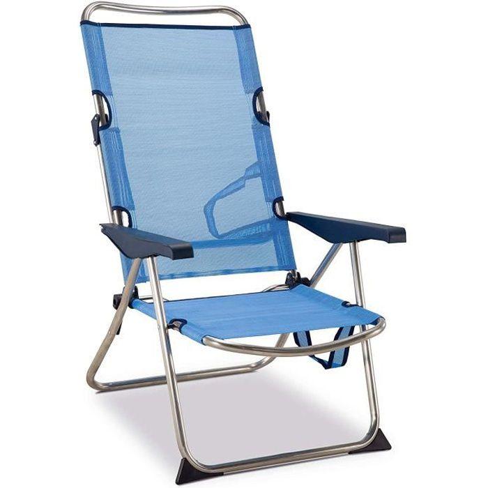 Chaise plage-lit positions Haute, en aluminium et textilène, patte ...