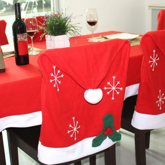 4 X Housse De Chaise Noel Decoration Chaise Meuble Noel Chapeau Noel