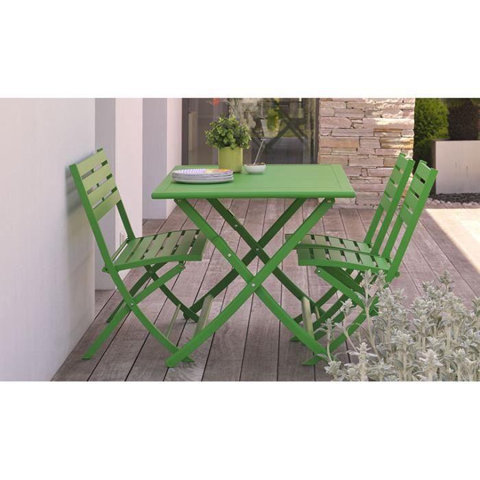 Salon de jardin en aluminium vert 4 places : pliant et gain de lpace