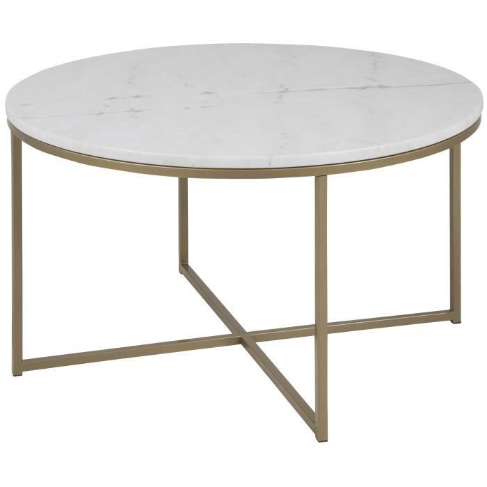 ALISMA Table basse ronde style contemporain en métal peint en laiton ...