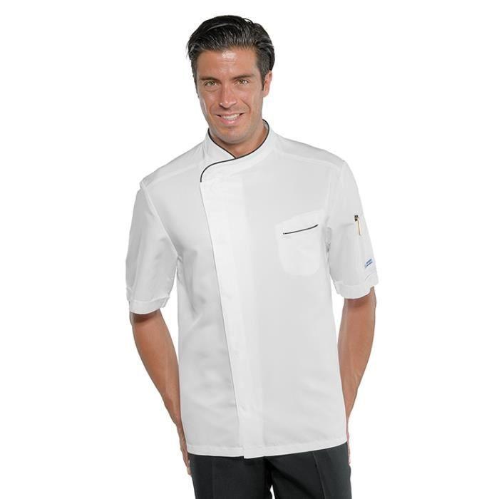 veste de cuisine tissu anti taches et manches courtes - achat