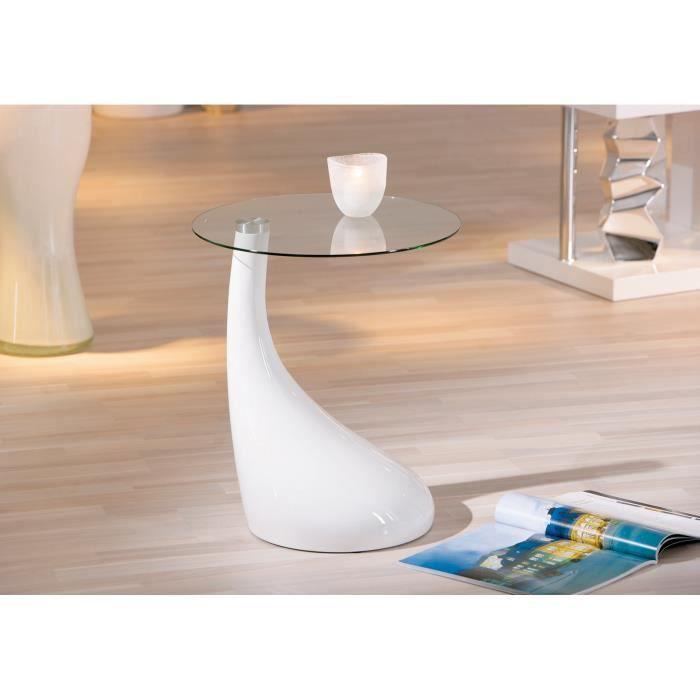 table basse table d 39 appoint meuble de salon carr en verre blanc achat vente table d 39 appoint. Black Bedroom Furniture Sets. Home Design Ideas