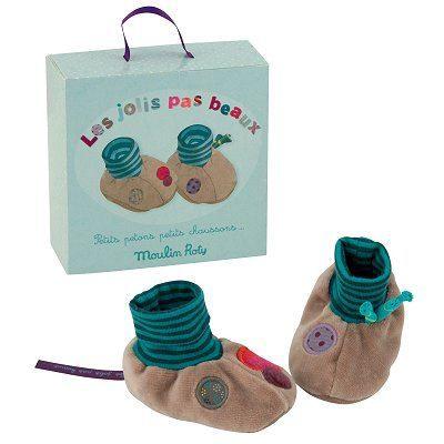 Chaussons gris pour bébés - Les jolis pas beaux