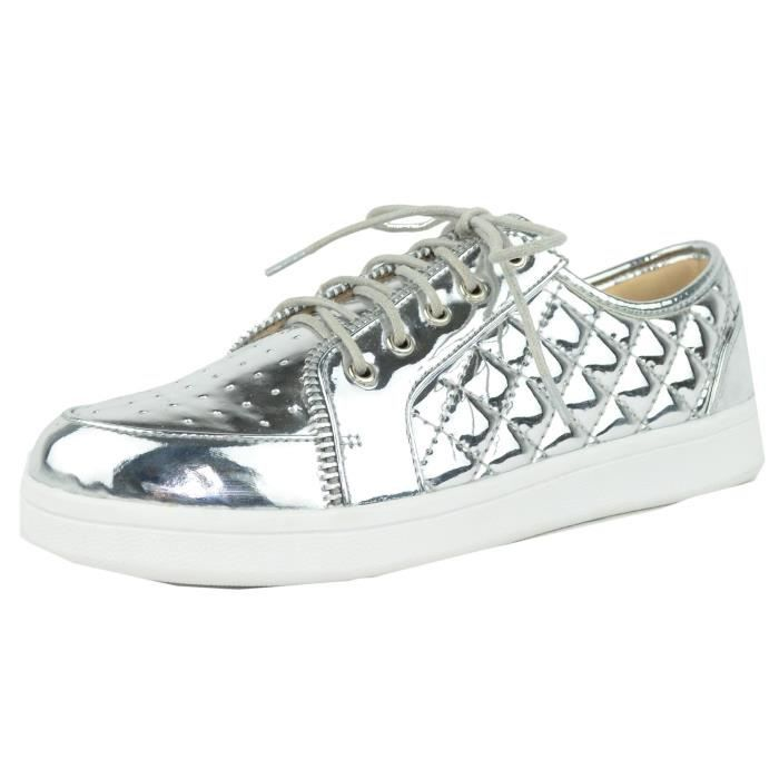 Metallic Quilted Fashion Sneaker SFJ4Q Taille-39 1-2