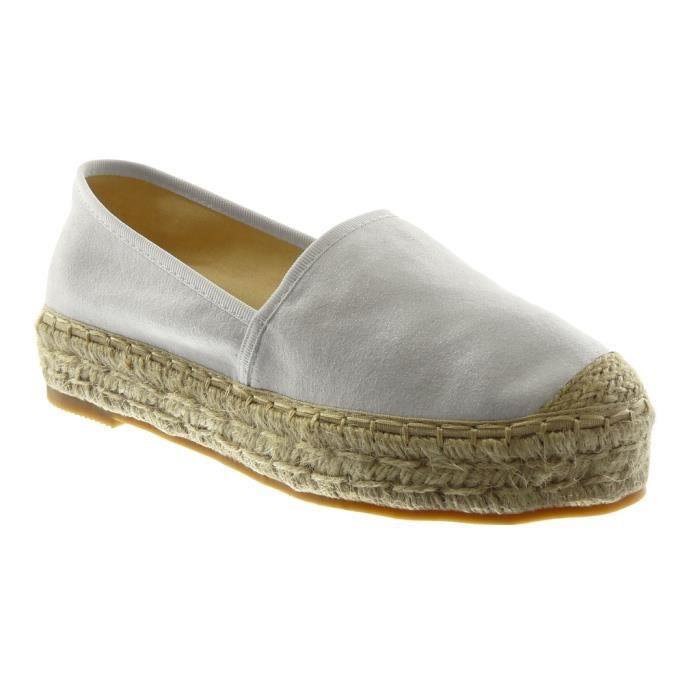Angkorly - Chaussure Mode Espadrille slip-on femme corde Talon bloc 3.5 CM - Blanc - LX163 T 41