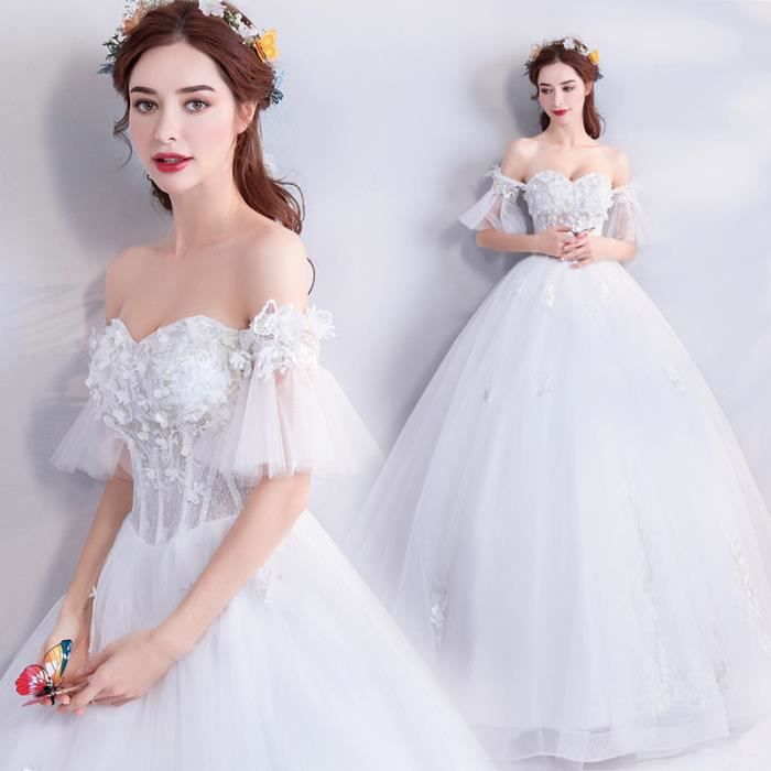 Mariée Robe De Mariage Blanc Élégant Bateau Cou Étage Longueur Manches  Courtes Dentelle Up robe de Bal Applique