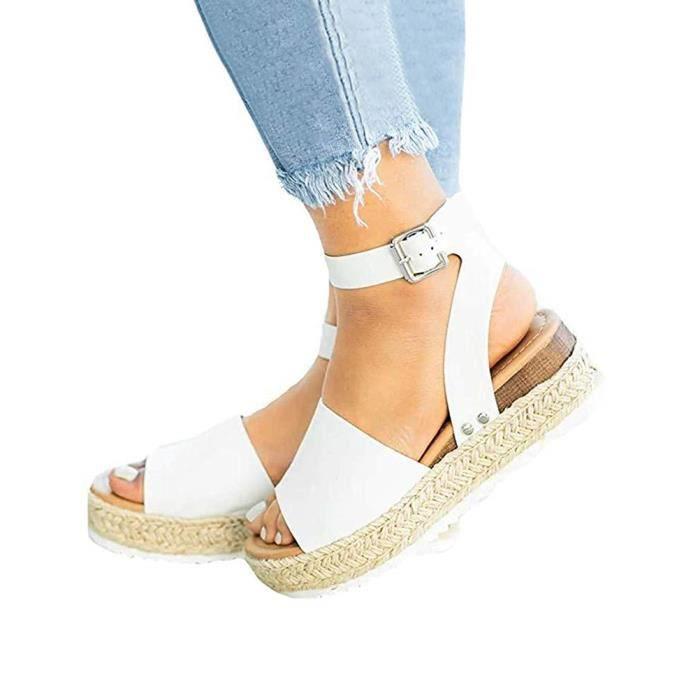 pas cher pour réduction 8f894 1cce9 Tomwell Femme Été Rivet Sandales Plates Peep Toe Sandale de Plage  Plateforme Suédé Chaussures
