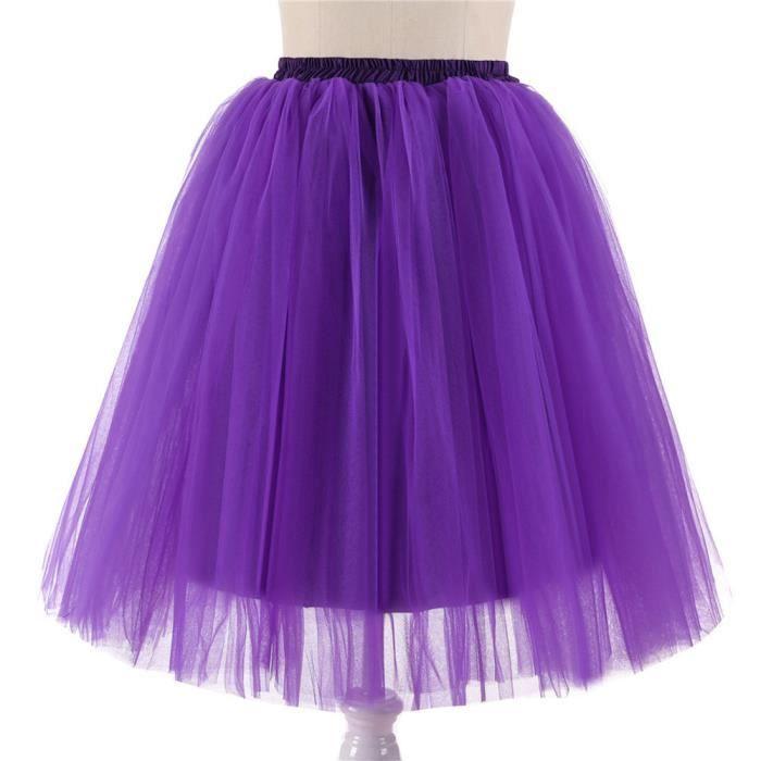 Jupe Danse Tutu Adulte Longueur Violet Genou Qualité Plissés De Haute Gaze qZzppw