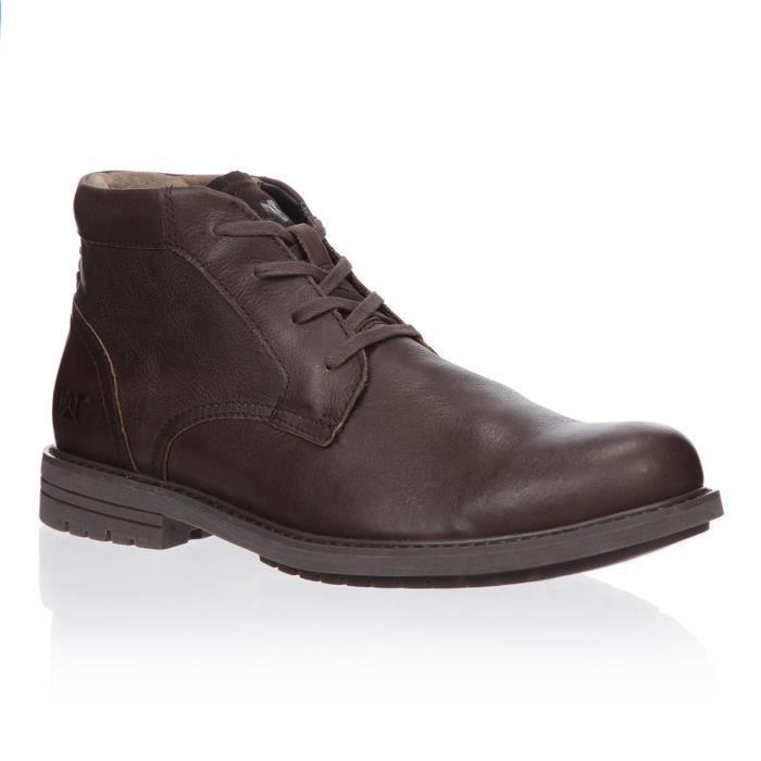 966b6263470e66 CATERPILLAR Bottines Brock Cuir Chaussures Homme homme Marron- Achat ...