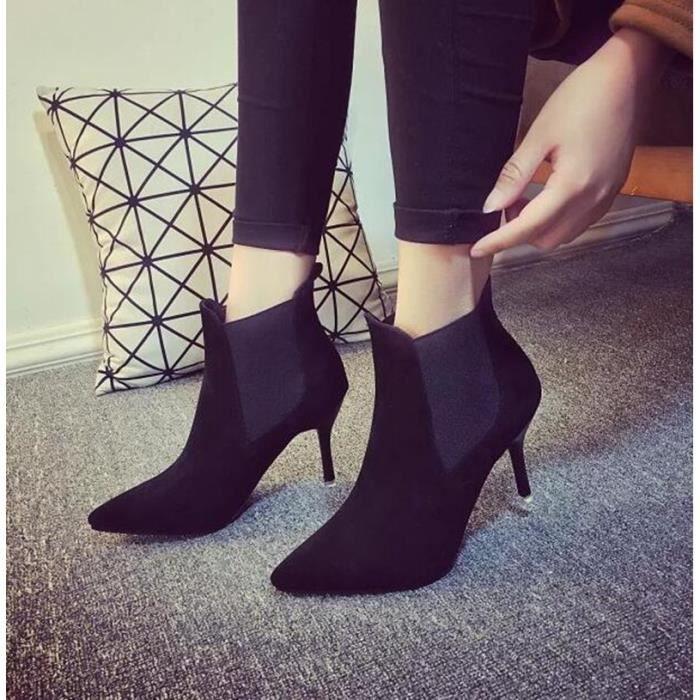 Chaussures à talon hiver nouveau simple pointu suède