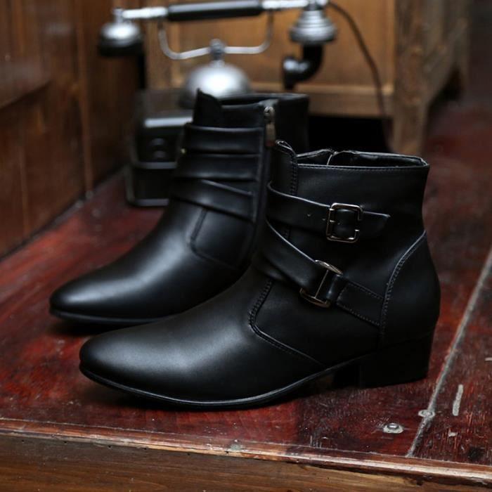 Botte Homme Simple britannique Big Taille haute qualité en cuir de loisirs noir taille42