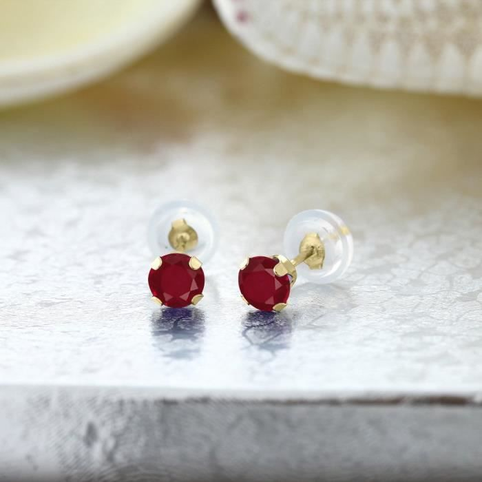 Womens 0.60 Ct Round 4mm Red Ruby 14k Yellow Gold Stud Earrings NSE4J