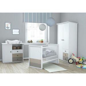 PLAGE Chambre bébé compl?te 3 pi?ces : Armoire + Lit 60x120 cm + Commode