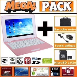 NETBOOK MEGA Pack- Netbook Rose 10 pouces 4Go Android +Sac