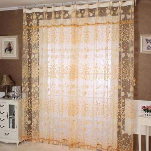 RIDEAU NGH4102006A@Floral Tulle porte fenêtre rideau pann