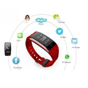 MONTRE Rouge Bluetooth intelligente bande Wristband Monit