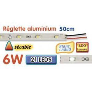 AMPOULE - LED Réglette LED alu 50 cm 6W 12V blanc chaud