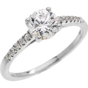 BAGUE - ANNEAU Bague Femme 10 Ct Or Blanc Diamant Solitaire Avec