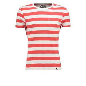3b997b4eaafc2 T-shirt rayé pour homme en gris ou bleu - T-shirt en coton à manches courtes  et rayures nautiques 1PVPFB Taille-M