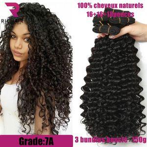 PERRUQUE - POSTICHE 3 tissage bresilien boucle cheveux naturels curly