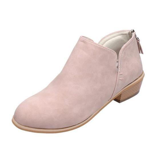 Femmes Femmes Chaussures Automne Mode cheville cuir solide Martin Bottes courtes Rose Rose - Achat / Vente botte
