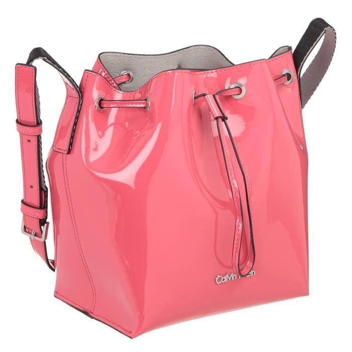 CALVIN KLEIN Sac seau brevet cuir K60K601422 - FLOW BUCKET BAG ROUGE Femme