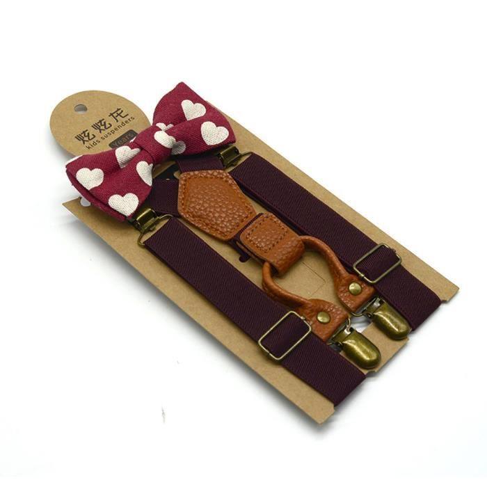 00c0ea8afb90b Enfants Bébés garçons de mariage assortis et bretelles Braces luxe Bow Tie  Set Qt7908