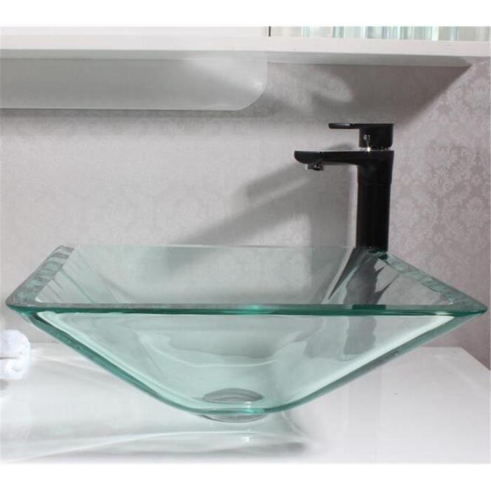 FFJTS Lavabo de salle de bains Table de verre durable transparent ...
