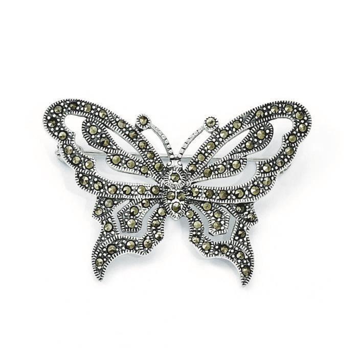 En argent Sterling Motif Papillon-broches