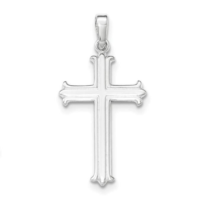 Argent Sterling poli pendentif croix Fleur De Lis