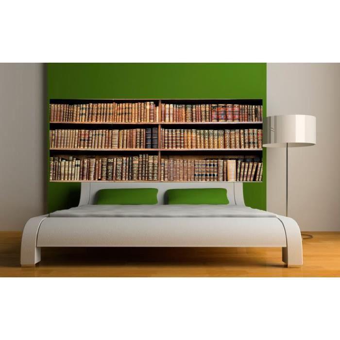 stickers t te de lit d co biblioth que dimensions 340x132cm achat vente stickers vinyl. Black Bedroom Furniture Sets. Home Design Ideas