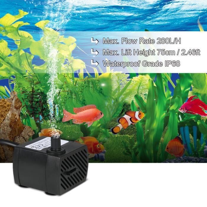 4w 280l / H Pompe À Eau Submersible Mini Fontaines Aquarium Étang Hydroponic Systems Un Buses Pour Jardin