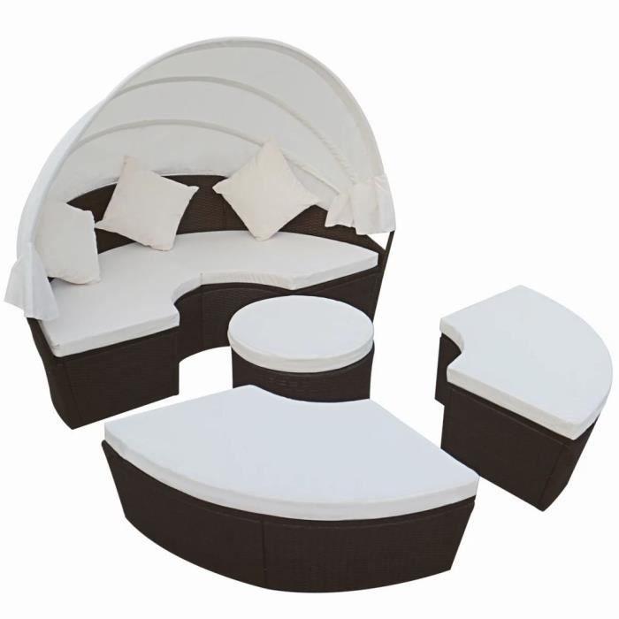 Salon de jardin meubles en rotin PE Avec auvent ou comme grand lit rond  Brun résistant aux intempéries ou UV pour piscine balcon