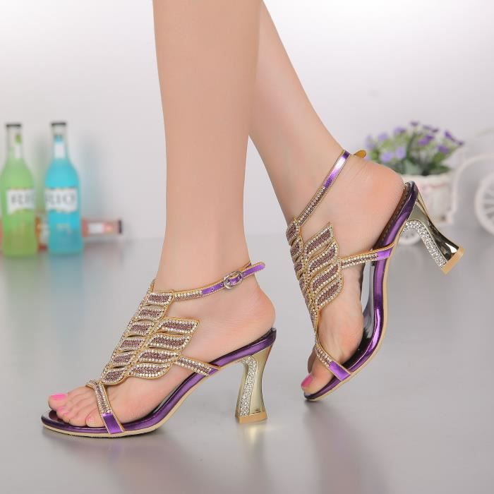 Sandales violet Nouveaux bohême strass cloutés sangle cheville épaisses chaussures de mariée mariage p3LqBe