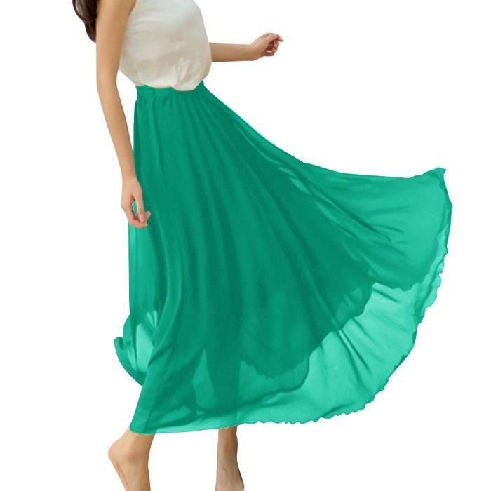 Vert noir Rétro Bohémien Jupe Mousseline blanc blush Été Plage Dressystar En Femme De Maxi Longue 7w0PZ