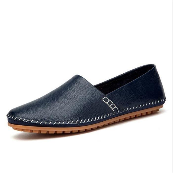 chaussures homme 2018 ete En Cuir Moccasin Marque De Luxe Moccasin hommesLoafer En Cuir Nouvelle Mode Grande Taille 38-47,42,bleu