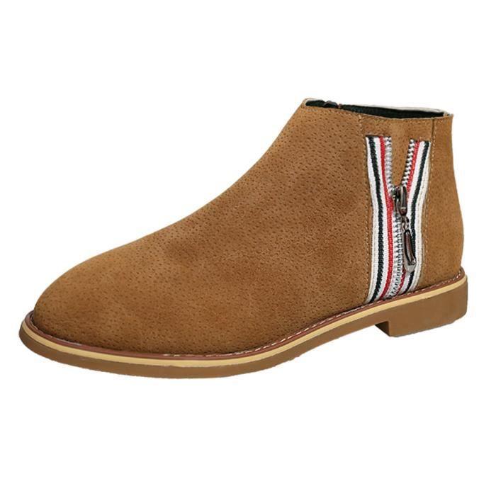 Chaussures confortable de plates Mode souple HX4010 en botte Vintage Jaune Bottines Chaussures Femmes cuir erdxBWCo