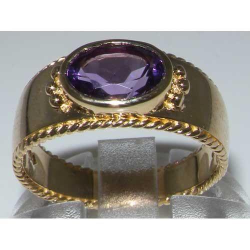 Bague pour Femme en Or jaune 9 carats 375-1000 sertie d Amethyste- Tailles 50 à 64