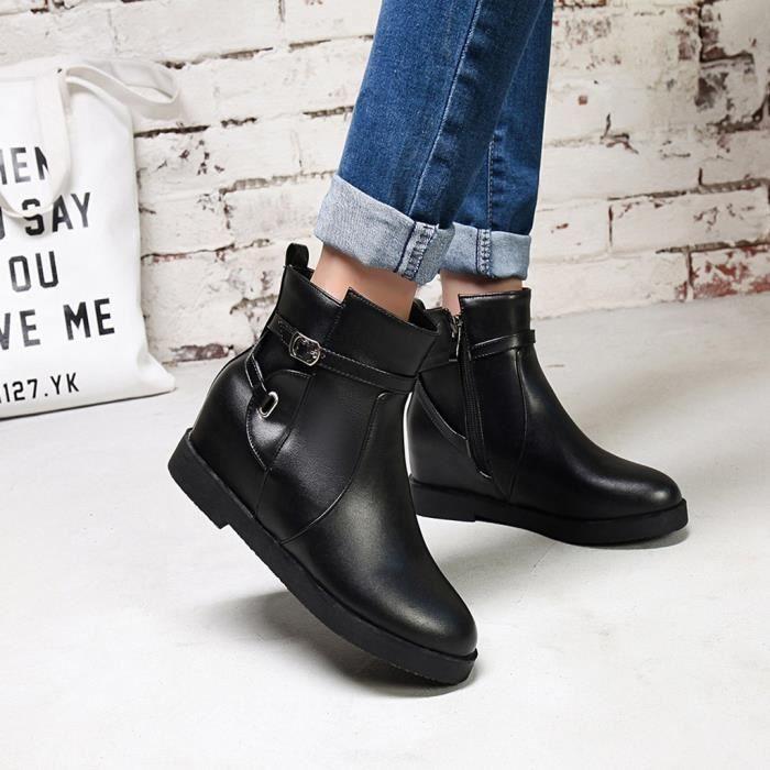 Zip Chaud Courtes Augmenter 9181 Épais Cheville Chaussures Mode Rondes Femmes Veberge Toe La Bottes p5q8xXTw