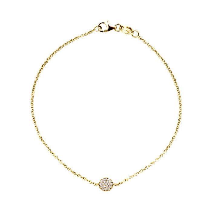 DIAMOND LANE Bracelet Or Jaune 750° et Diamants Blancs 0,11 cts Motif Rond Femme