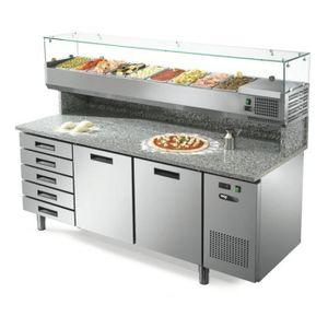 ARMOIRE RÉFRIGÉRÉE Table frigorifique à pizza 2 portes + 5 tiroirs, 6